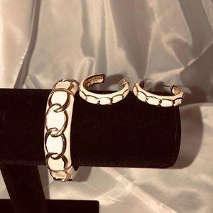 Enamel bracelet and hoop earrings